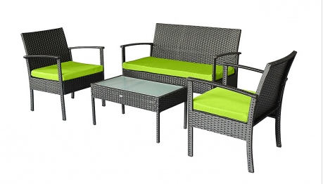Pleasing 4 Pcs Patio Furniture Set In Black With Green Cushions Gamerscity Chair Design For Home Gamerscityorg